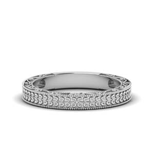 Platinum Antique Carved Wedding Band