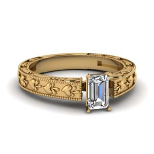 Milgrain Design Solitaire Ring