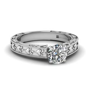 Carved Round Diamond Ring