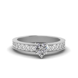 White Gold Antique Solitaire Ring