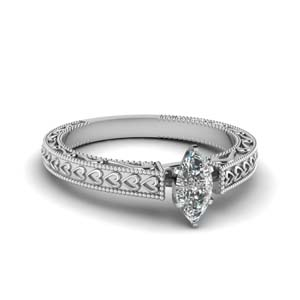 White Gold Marquise Cut Solitaire Rings