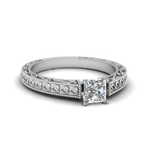 Filigree Solitaire Engraved Ring