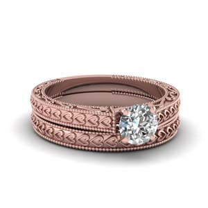 Milgrain Solitaire Wedding Ring Set