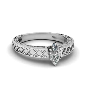 Engraved Single Diamond Ring