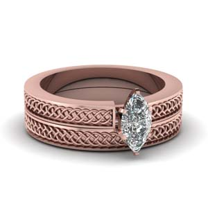 Weaved Design Solitaire Wedding Set