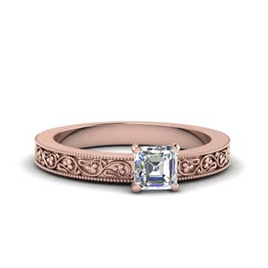 Filigree Milgrain Solitaire Ring