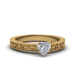 Filigree Heart Solitaire Ring