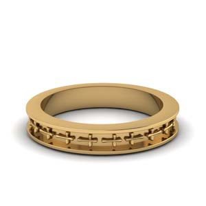Cross Design Wedding Band Yellow Gold