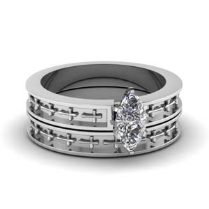 Cross Engraved Solitaire Wedding Ring Set