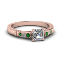 asscher-cut-diamond-duet-bar-side-stone-ring-with-green-emerald-in-18K-rose-gold-FDENS363ASRGEMGR-NL-RG