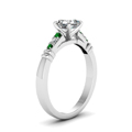 asscher-cut-diamond-duet-bar-side-stone-ring-with-green-emerald-in-950-Platinum-FDENS363ASRGEMGRANGLE2-NL-WG
