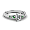 emerald-cut-diamond-duet-bar-side-stone-ring-with-green-emerald-in-18K-white-gold-FDENS363EMRGEMGR-NL-WG