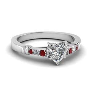 Ruby With Heart Diamond Ring