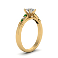 marquise-shaped-diamond-duet-bar-side-stone-ring-with-green-emerald-in-18K-yellow-gold-FDENS363MQRGEMGRANGLE2-NL-YG