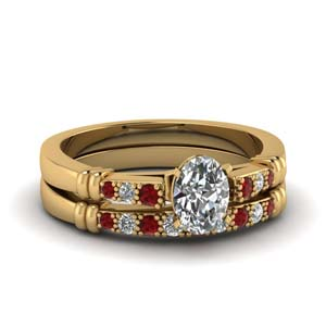 Ruby Oval Diamond Wedding Set