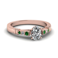 oval-shaped-diamond-duet-bar-side-stone-ring-with-green-emerald-in-14K-rose-gold-FDENS363OVRGEMGR-NL-RG