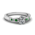 oval-shaped-diamond-duet-bar-side-stone-ring-with-green-emerald-in-18K-white-gold-FDENS363OVRGEMGR-NL-WG