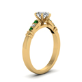 pear-shaped-diamond-duet-bar-side-stone-ring-with-green-emerald-in-18K-yellow-gold-FDENS363PERGEMGRANGLE2-NL-YG