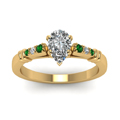 pear-shaped-diamond-duet-bar-side-stone-ring-with-green-emerald-in-18K-yellow-gold-FDENS363PERGEMGRANGLE5-NL-YG