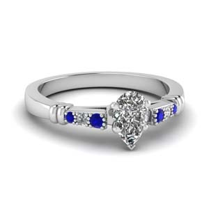 Bar Set Sapphire Wedding Ring