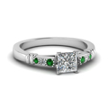 princess-cut-diamond-duet-bar-side-stone-ring-with-green-emerald-in-950-Platinum-FDENS363PRRGEMGR-NL-WG