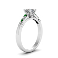 princess-cut-diamond-duet-bar-side-stone-ring-with-green-emerald-in-950-Platinum-FDENS363PRRGEMGRANGLE2-NL-WG