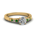 round-cut-diamond-duet-bar-side-stone-ring-with-green-emerald-in-18K-yellow-gold-FDENS363RORGEMGR-NL-YG