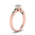 round-cut-diamond-duet-bar-side-stone-ring-with-green-emerald-in-14K-rose-gold-FDENS363RORGEMGRANGLE2-NL-RG