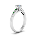 round-cut-diamond-duet-bar-side-stone-ring-with-green-emerald-in-950-Platinum-FDENS363RORGEMGRANGLE2-NL-WG