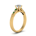 round-cut-diamond-duet-bar-side-stone-ring-with-green-emerald-in-18K-yellow-gold-FDENS363RORGEMGRANGLE2-NL-YG
