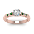 round-cut-diamond-duet-bar-side-stone-ring-with-green-emerald-in-14K-rose-gold-FDENS363RORGEMGRANGLE5-NL-RG
