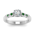 round-cut-diamond-duet-bar-side-stone-ring-with-green-emerald-in-950-Platinum-FDENS363RORGEMGRANGLE5-NL-WG