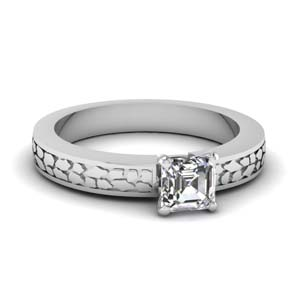 Asscher Cut Solitaire Carved Ring