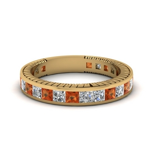 Antique inspired Orange Sapphire Band