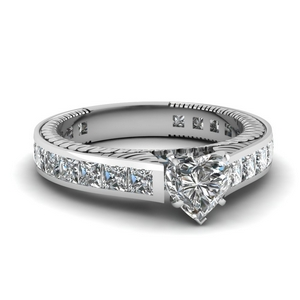 Engraved Channel Diamond Ring