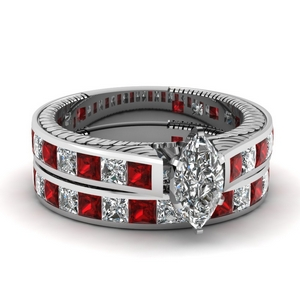 Ruby Channel Diamond Bridal Set