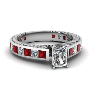 Channel Radiant Diamond Ring With Ruby