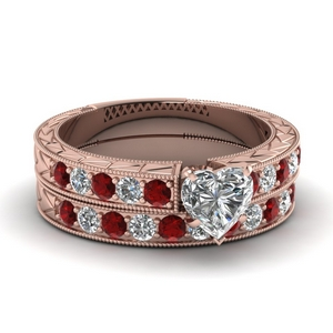 Ruby With Pave Wedding Set