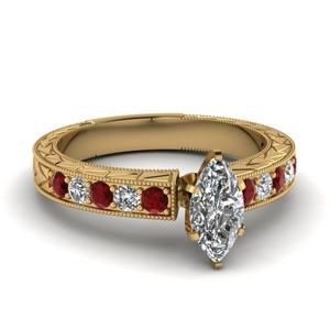 Milgrain Diamond And Ruby Ring