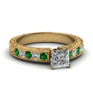 princess cut vintage pave diamond engagement ring with emerald in FDENS395PRRGEMGR NL YG