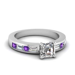 channel set baguette asscher diamond engagement ring with purple topaz in FDENS567ASRGVITO NL WG