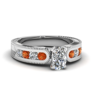 Cushion Ring With Orange Sapphire