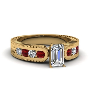 Milgrain Wedding Ring With Ruby