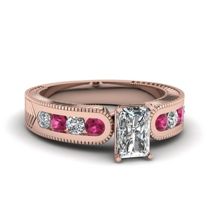 Pink Sapphire Radiant Ring