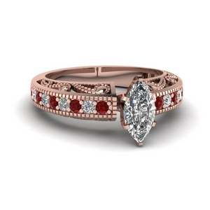 Ruby Filigree Marquise Diamond Ring
