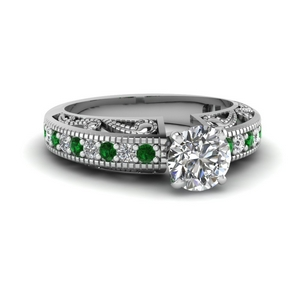 Round Diamond Art Deco Engagement Ring