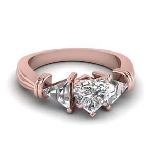 trillion 3 stone heart diamond engagement ring in FDENS623HTR NL RG