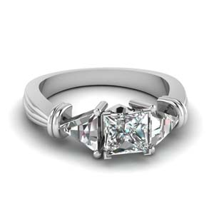 Princess Cut Trillion 3 Stone Ring