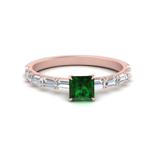Baguette Emerald Engagement Ring