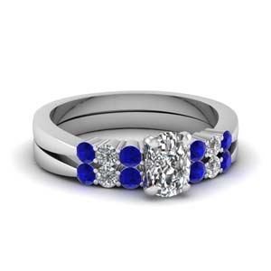 Cushion Cut Sapphire Ring Set